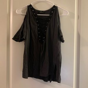 Forever 21 Open-Shoulder Gray Lace-Up Shirt